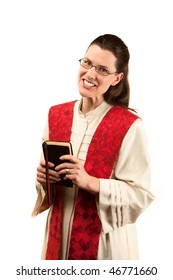 Female pastor in robe and red stole on white background