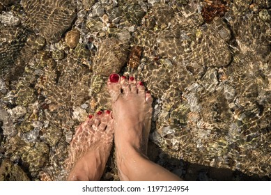 Female pedicured feet on rocky sea floor visible through crystal clear water
