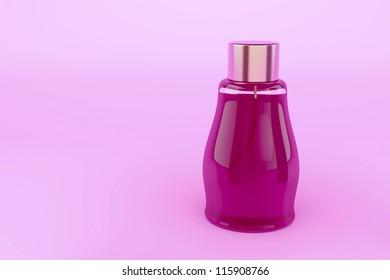 Female perfume on pink background