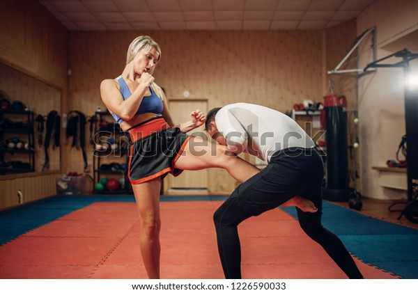 Female Person Makes Kick Groin Self Stock Photo (Edit Now