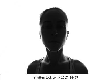Female person silhouette,back lit light