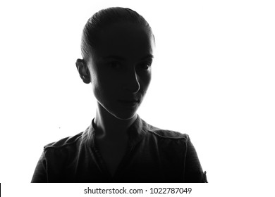 Female person silhouette,back lit light