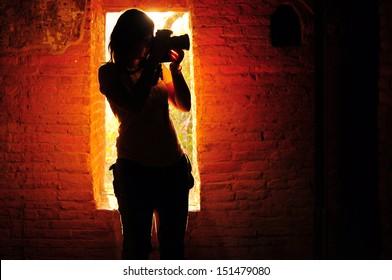 Female photographer silhouette