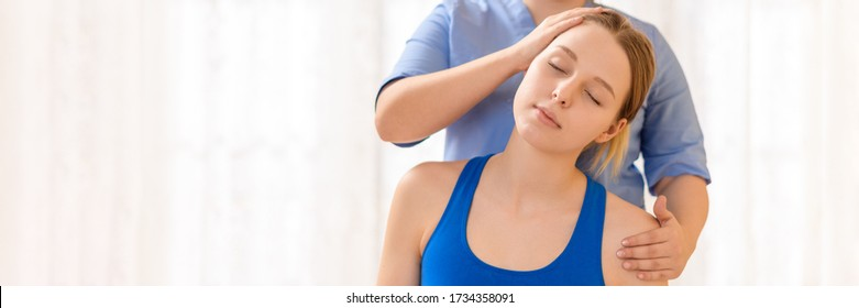 Female physiotherapist or a chiropractor adjusting patients neck. Physiotherapy, rehabilitation concept. White background banner front view with copy space.