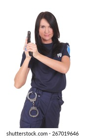 Female police isolated on the white background