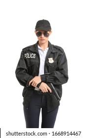 Female police officer on white background