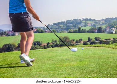 A female professional golfer playing at the golf course of Zlati Gric in Slovenia - Shutterstock ID 1766272154