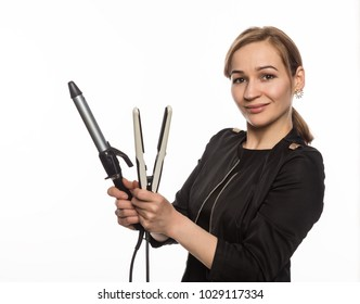 Female professional hairdresser with ploy. Elegant woman presents her hairdresser's accessories. Hair styling and beauty concept