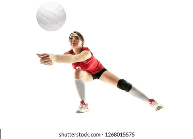 Female professional volleyball player isolated on white with ball. The athlete, exercise, action, sport, healthy lifestyle, training, fitness concept