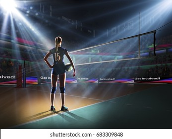 Female professional volleyball player on grand court