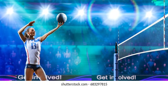 Female professional volleyball players in action on grand court