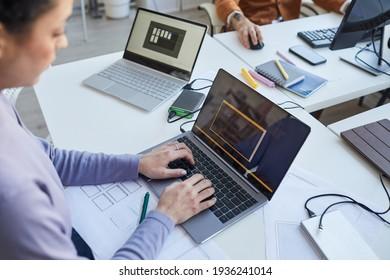 Female IT Programmer Using Laptop