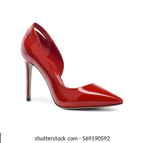 Female red fashion summer shoes on white background