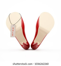 Female red high-heeled shoes image 3D high quality rendering. Red sale tag.