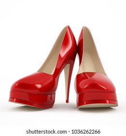 Female red high-heeled shoes image 3D high quality rendering.