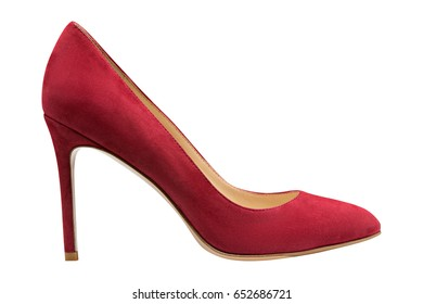 Female red suede shoes, isolated on white background