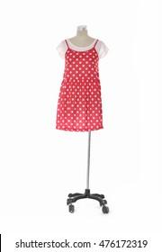 female red sundress clothing isolated on dummy