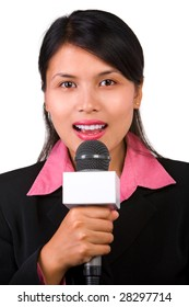 A female reporter in live broadcasting