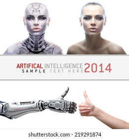 Female robot portraits. Cyber prototype with real girl. Artifical arms with thumbs up