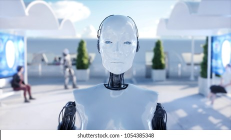 Female robot walking. Sci fi station. Futuristic monorail transport. Concept of future. People and robots. 3d rendering.