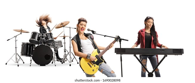 Female rock band with a drummer, guitarist and a keyboard player isolated on white background