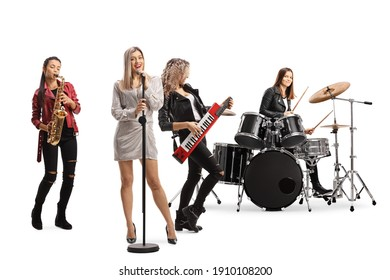 Female rock band with a drummer, sax player, keytar player and a front singer isolated on white background