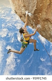 Female rock climber struggles to reach her next grip  on the edge of a challenging cliff.