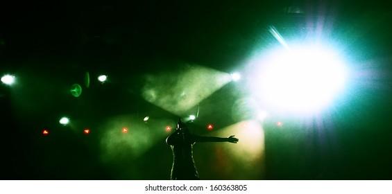 female rock singer on the concert