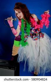 female rock star model posing