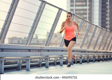 Female runner during running exercise