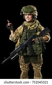 female in russian mechanized infantry desert uniform. Isolated on black background