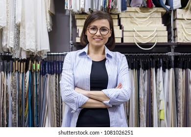 Female saleswoman, interior designer in showroom