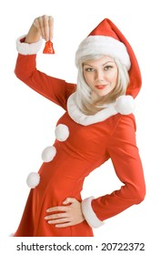 Female Santa Clause holding a hand bell