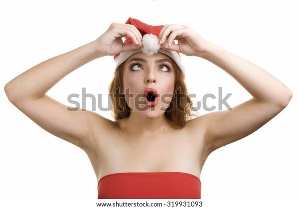 Female Santa Portrait With Great Astonishment  on her Face