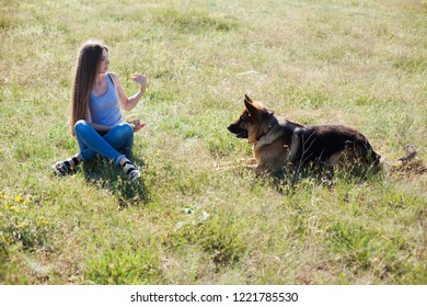 female schools and plays with dog Shepherd