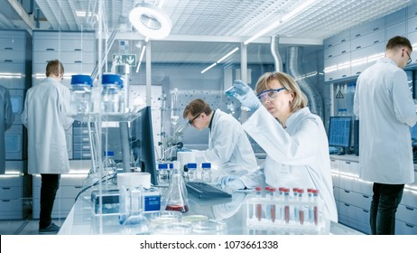 Female Scientist Analyzes Liquid in the Beaker and Types Down Observations on Her Computer. She's Working in a Busy Laboratory Full of Scientists Conducting Experiments.