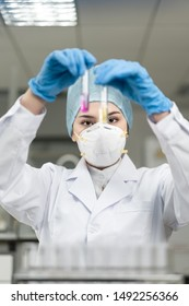 Female scientist looking at the scientific sample in the laboratory.