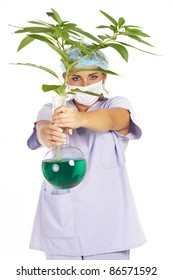 female scientist working on plant genetic research