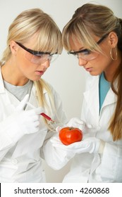 Female scientists injecting liquid into a tomato