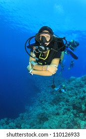 Female Scuba Diver in ocean