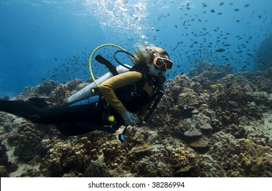 Female scuba diver over a beautiful coral reef in the Gulf of Thailand