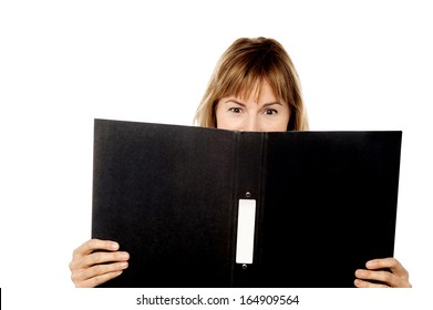 Female secretary hiding face with tender file