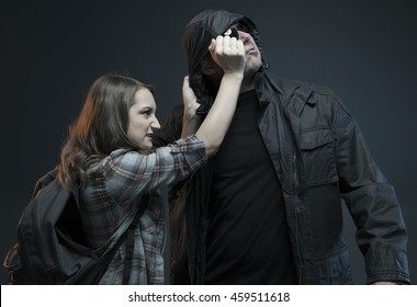 FEMALE SELF DEFENSE SERIES- Teenage Girl gets attacked by a stranger and strikes back!Studio photo with filter applied.