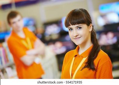 female seller assistant in hardware shop