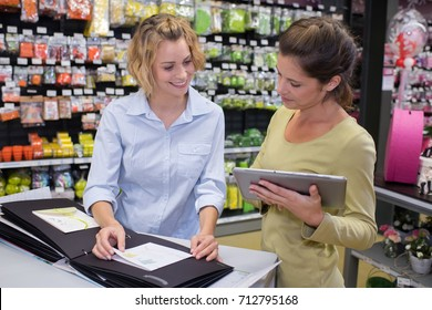 female seller and client in a store