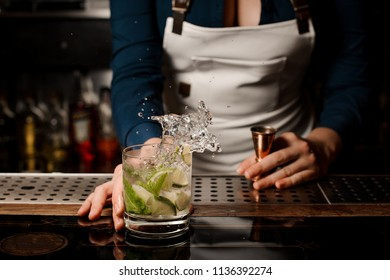Female sexy barman making a fresh and cold summer mojito cocktail on the bar counter