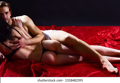 Female sexy buttocks and male body. Sexual health and libido. Desire and erotic. Safer sex helps you stay healthy and can even make sex better. Guide to safe sex basics. Couple naked make love in bed.