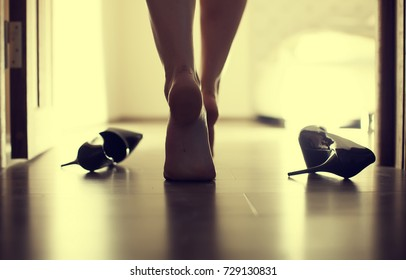 Female sexy leg walking in bedroom