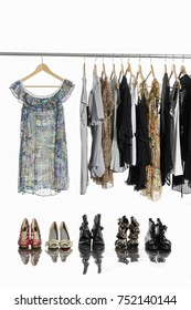 female shirt,coat ,sundress clothes hanging with shoes