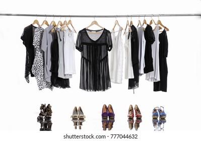 female shirt,coat ,sundress clothes hanging with shoe